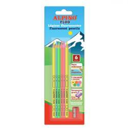 Blister 6 lápices fluor ALPINO