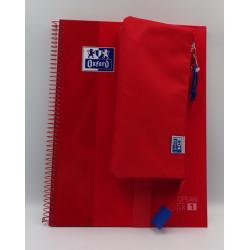 Pack cuaderno + portatodo triple rojo Oxford