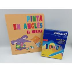 Cuaderno para pintar Pinta en anglès el menjar +24 rotuladores colorado pen Pelikan